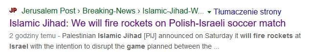 Takie ostrzeżenie pojawiło się po godz. 12.00 na stronie gazety The Jerusalem Post.