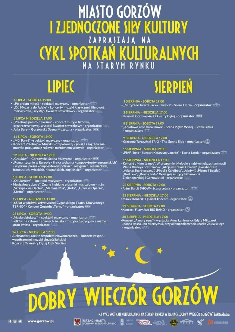 Program koncertów i spektakli na lipiec i sierpień.