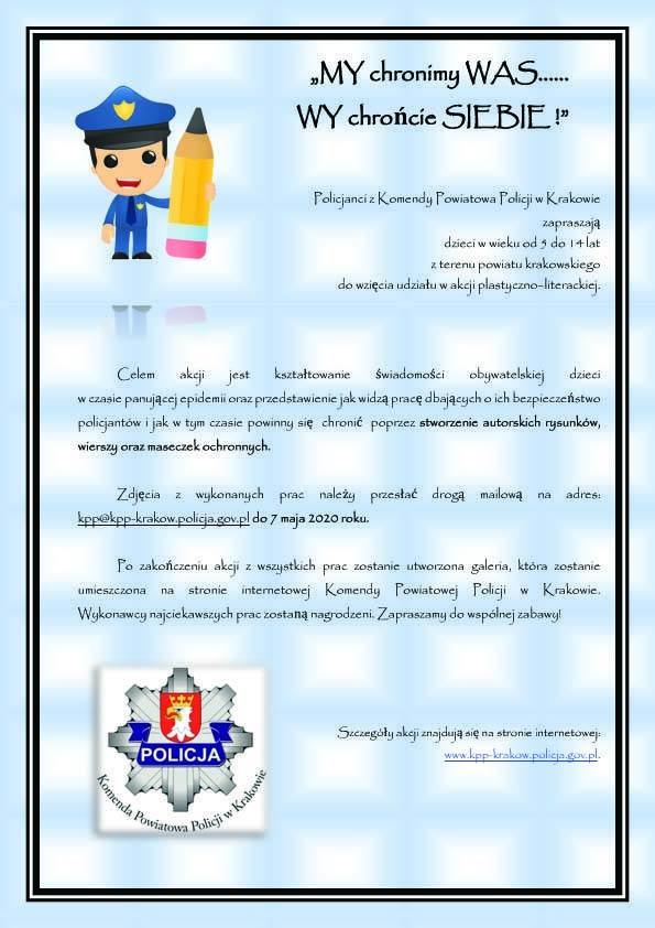 Policja organizuje konkurs dla dzieci. Mogą malować, pisać wiersze i robić maseczki