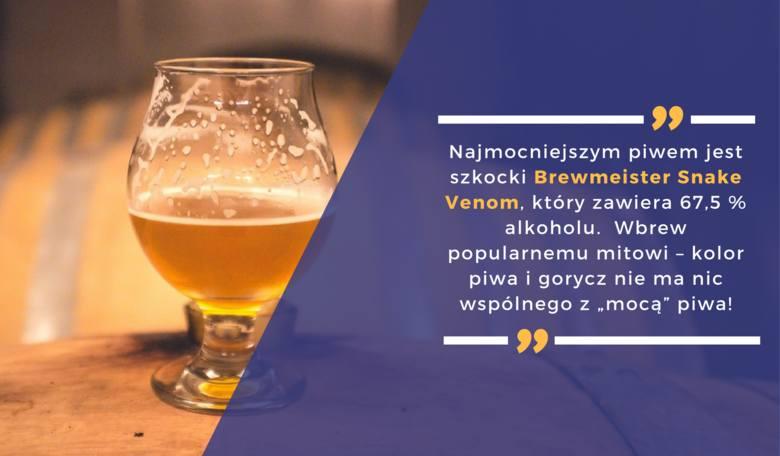 Najmocniejszym piwem jest szkocki Brewmeister Snake Venom, który zawiera 67,5 % alkoholu.  Wbrew popularnemu mitowi – kolor piwa i gorycz nie ma nic