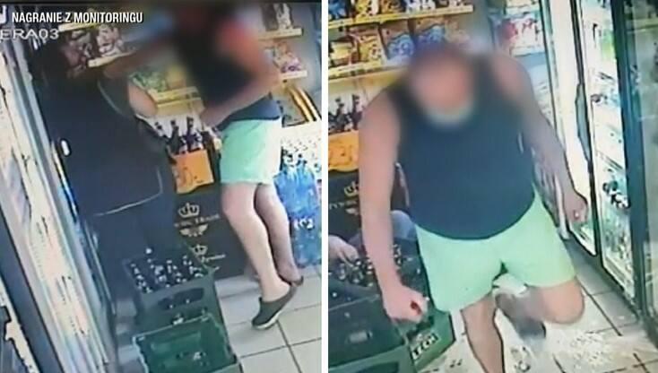 Zapis z monitoringu w jednym ze sklepów, w którym zaatakowano sprzedawczynię.