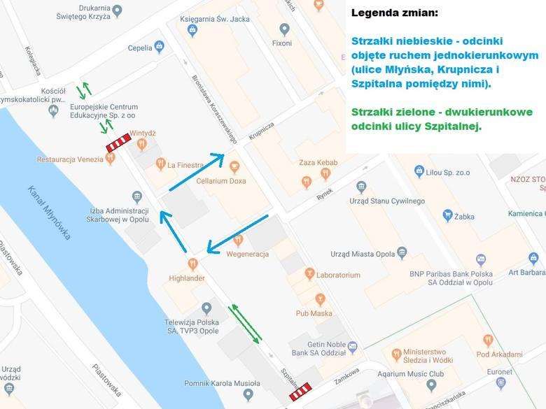 Zmiany w organizacji ruchu w rejonie ulic Szpitalnej, Krupniczej i Młyńskiej w Opolu