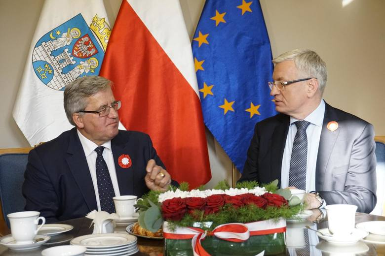 Prezydent Poznania, Jacek Jaśkowiak podejmował prezydenta Bronisława Komorowskiego w swoim gabinecie