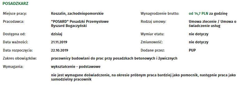 Szukasz pracy w Koszalinie bądź okolicach? Sprawdź najnowsze oferty, które wpłynęły do Powiatowego Urzędu Pracy w Koszalinie.