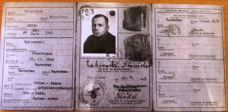 Okupacyjna kennkarta Stanisława Kulika wystawiona na fałszywe nazwisko