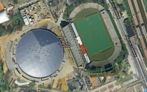 Zdjęcie satelitarne z widokiem na stadion ŁKS-u i halę Atlas Arena