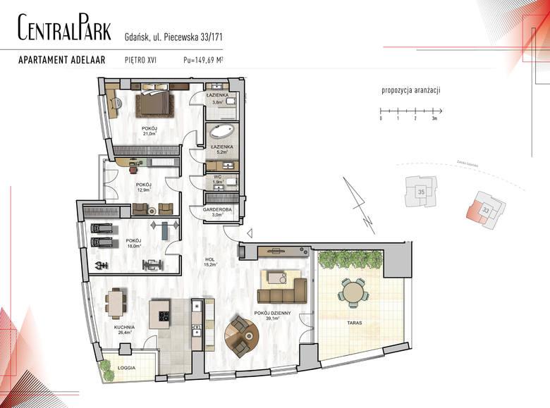 <strong>Adelaar</strong><br /> <br /> <strong>To propozycja komfortowego, 4-pokojowego, przepięknie doświetlonego apartamentu, zlokalizowanego na 17 kondygnacji budynku Brema. </strong><br /> <br /> Na potrzeby mieszkańców zaprojektowano tu:<br /> <br /> 40-metrowy salon z wyjściem na duży 28 metrowy taras z...