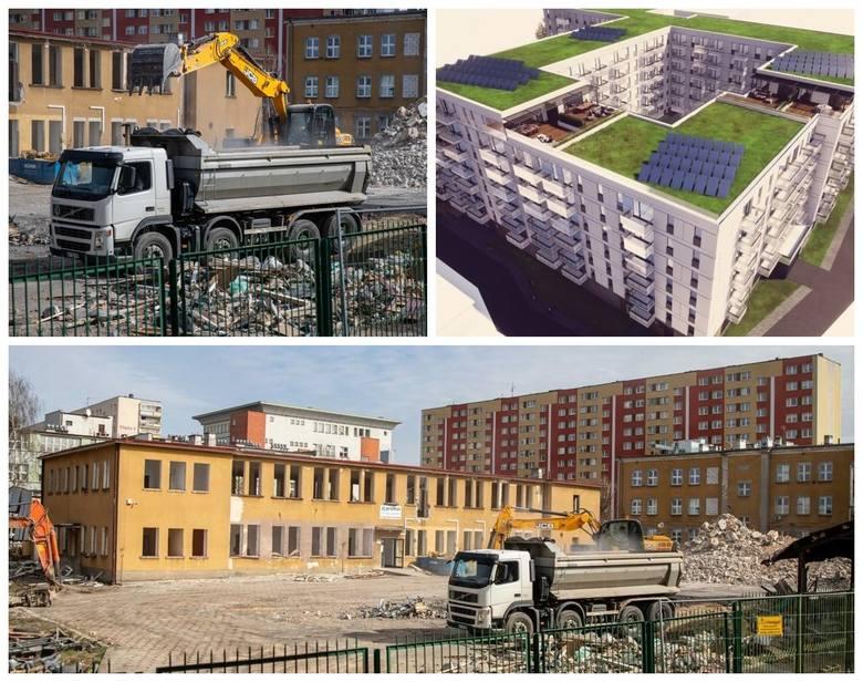 Burzenie budynków PROMOT-u przy ulicy Ciepłej w Białymstoku oraz apartamentowiec, który ma stanąć na ich miejscu
