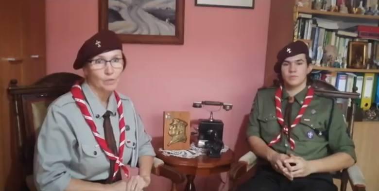Anna Steckiewicz, komendantka pińczowskiego hufca Związku Harcerstwa Polskiego wraz z synem Patrykiem włączyli się w akcję #ChallangedlaNiepoldegłej
