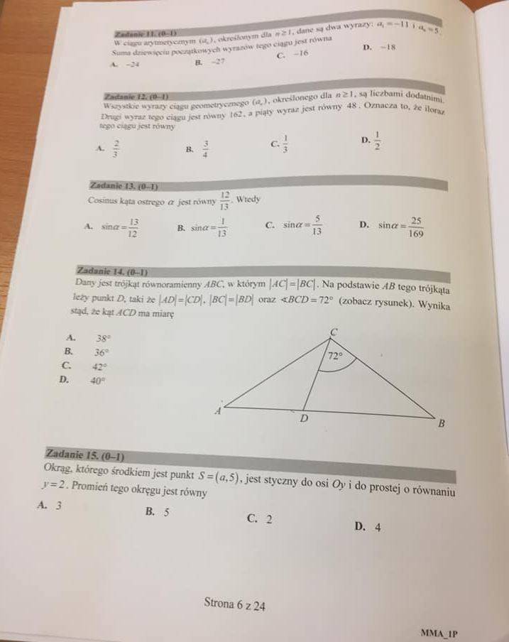 Sugerowane odpowiedzi:11. B12. A13. C14. B15. A