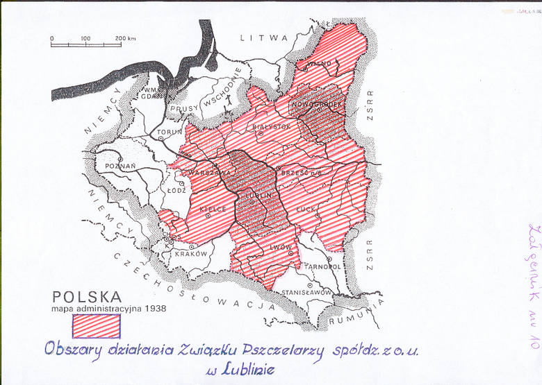Mapa administracyjna II Rzeczpospolitej z 1938 r. z zaznaczonym obszarem działania Spółdzielni Związek Pszczelarzy z ograniczonymi udziałami w Lublinie.