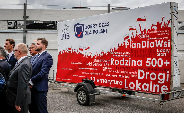 Konferencja PiS w Gdańsku  na parkingu przy Hali Olivii 19.08.2019
