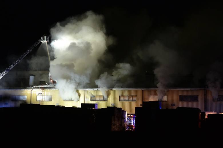 61 strażaków przez 4 godziny gasiło pożar suszarni na terenie fabryki płyt pilśniowych w Przemyślu [ZDJĘCIA]