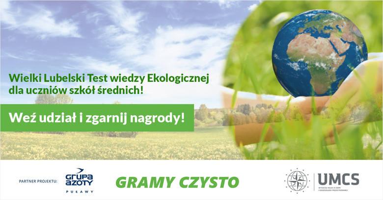 """Zapraszamy do udziału w naszym Wielkim Lubelskim Teście Wiedzy Ekologicznej - """"Z ekologią za pan brat"""""""