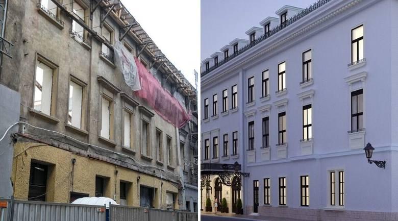 Z lewej kamienica - a w zasadzie to, co nie zostało - w której kiedyś znajdowała się m.in. kino Apollo. Z prawej - tak ma wyglądać nowy hotel