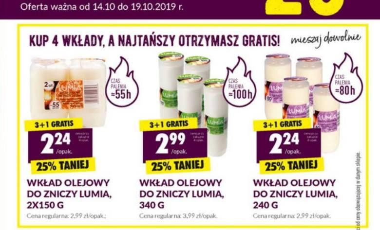Biedronka też specjalną propozycję, dla tych, którzy kupią 6 sztuk – zapłacą 20 proc. taniej, czyli 3, 99 zł za jeden znicz. Za wkład olejowy – 340 g