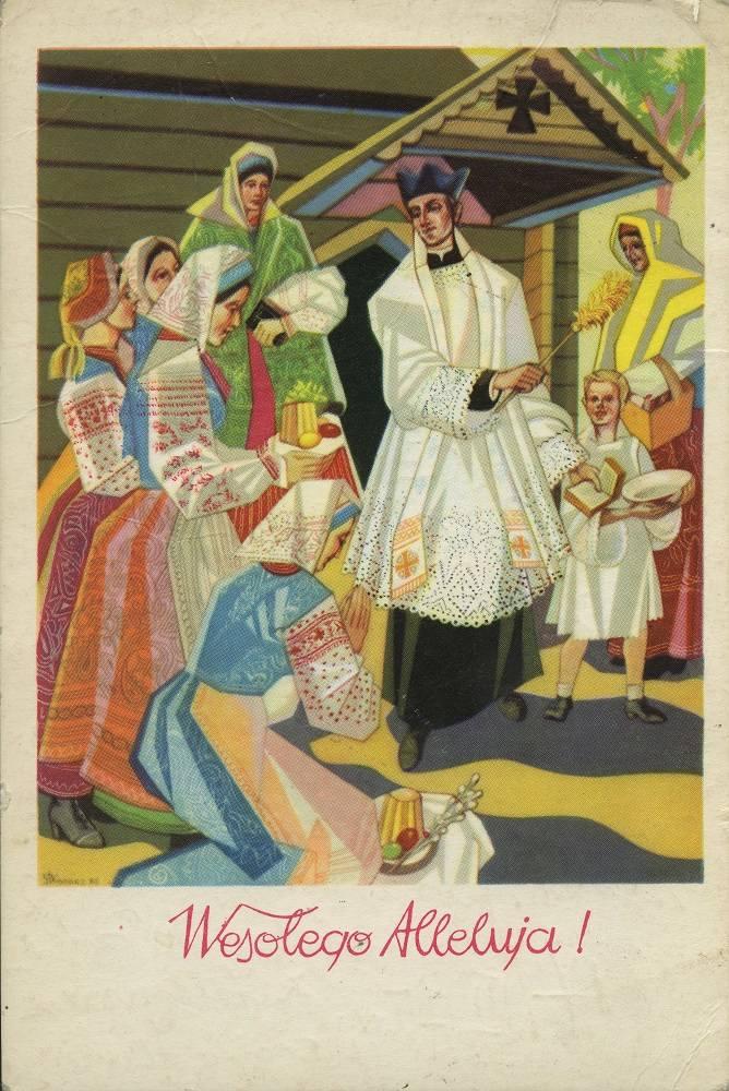 Wesołego Alleluja!, Ars Christiana, wysłano w 1975 r., pocztówka ze zbiorów Muzeum Etnograficznego im. Seweryna Udzieli w Krakowie