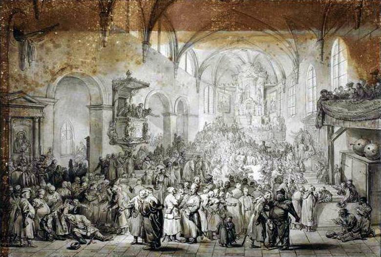 Jan Piotr Norblin, Sejmik w kościele (fragment: pijany szlachcic)