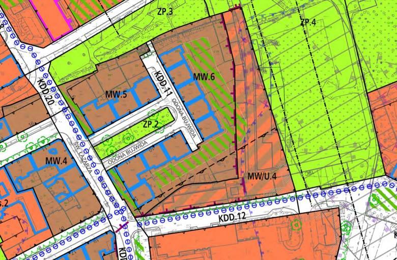 W rejonie ulicy Bujwida planowana jest zabudowa mieszkaniowa - znacznik MW/u.4