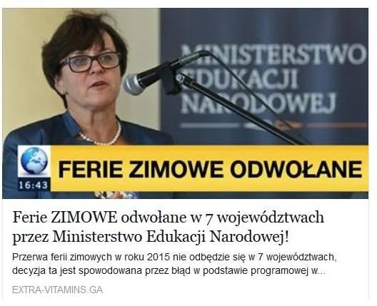 Ferie zimowe odwołane w 7 województwach? Kolejne oszustwo na Facebooku