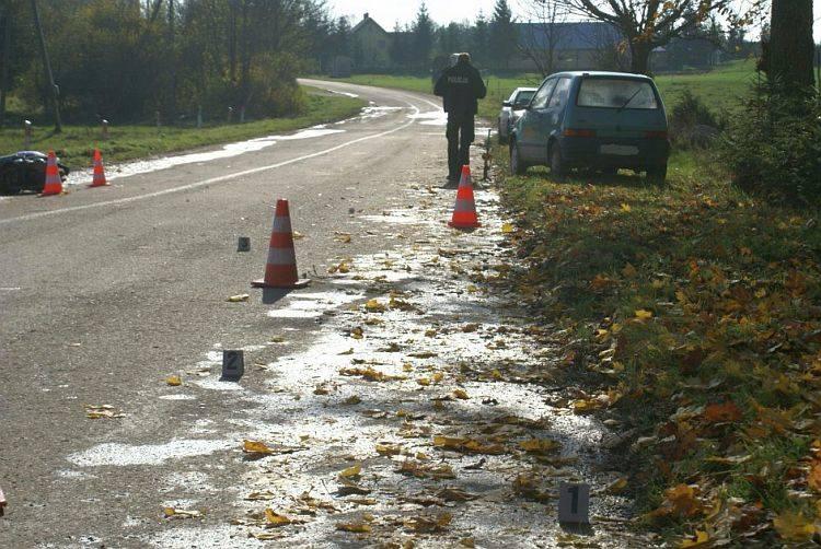 Wypadek w miejscowości Okliny spowodowała 40-letnia motorowerzystka