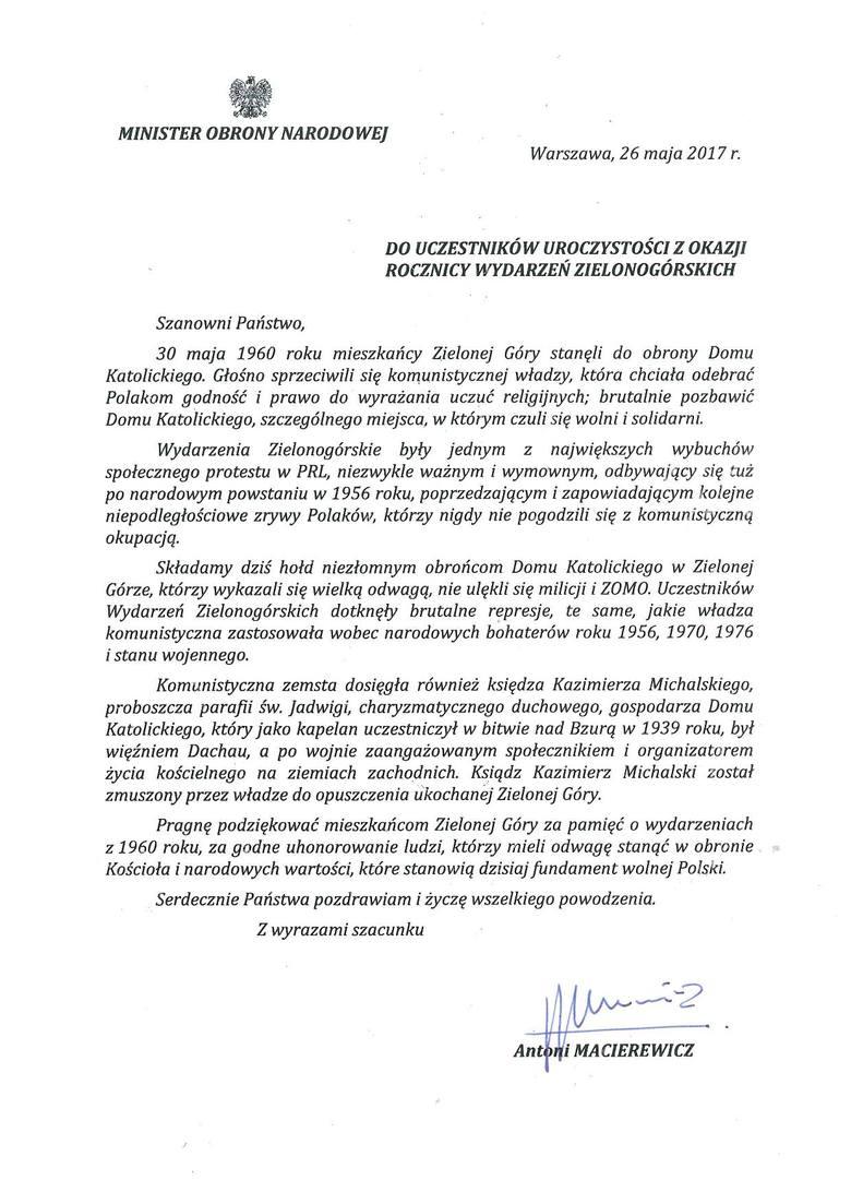 List został odczytany podczas uroczystości w niedzielę, 28 maja.