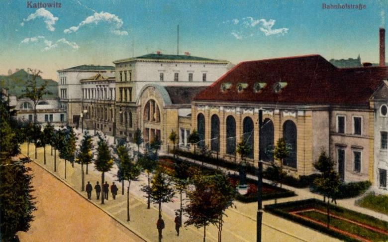 Stary Dworzec w Katowicach i ulica Dworcowa, przełom XIX i XX w