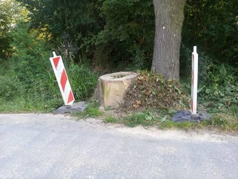 Przy pniaku przy drodze Sulisławice - Adamowice postawiono znak
