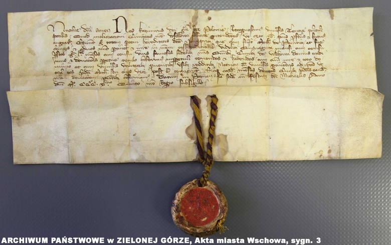 Król Kazimierz Wielki oznajmia, że nadaje miastu Wschowie 50 łanów we wsi Przyczyna [Nova Pricz] (Poznań, 26 września 1345)