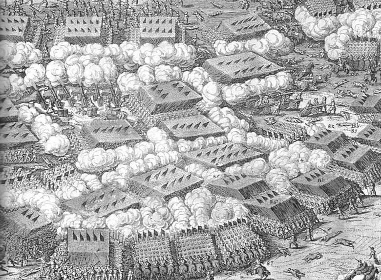 Król Szwecji Gustaw II Adolf w tle bitwa pod Breitenfeld (obraz Johanna Waltera z 1632 r.)