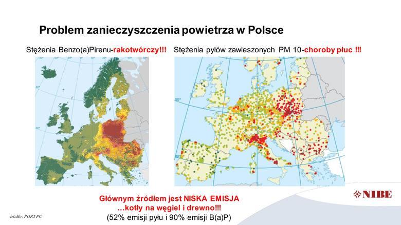 Problem zanieczyszczenia powietrza w Polsce - mapa