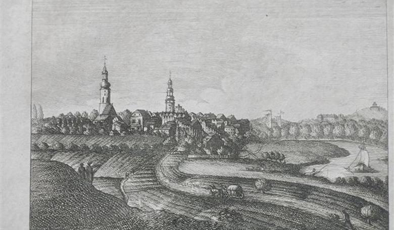 Rycina przedstawiająca najstarszy znany wizerunek Bytomia Odrzańskiego. Pochodzi najprawdopodobniej z pierwszej połowy XVIII w.