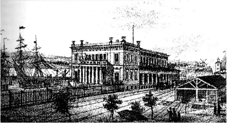 Tak wyglądał pierwszy dworzec (litografia z 1866 roku)