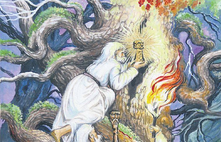 """Pogańscy kapłani ukrywają w drzewie figurkę Trzygłowa. Ilustracja pochodziz książki """"Borek i bogowie Słowian"""" Igora Górewicza, pierwszejpolskiej"""