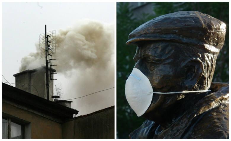 Przekroczenia norm dobowych pyłów PM 10 jest odczuwalne przez mieszkańców... dlatego niektórzy zakładają maski rozdawane przez Poznański Alarm Smogo