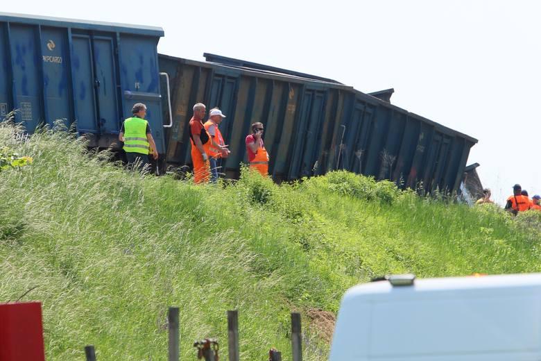 W niedzielę w Ciecierzynie w gm. Niemce wykoleił się pociąg towarowy. W poniedziałek usunięto wagony z torów. Zobacz zdjęcia