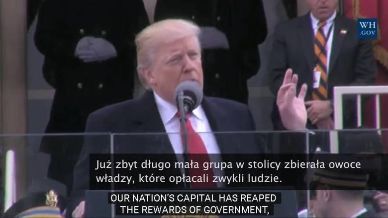 USA. Donald Trump w inauguracyjnym przemówieniu skarcił elity