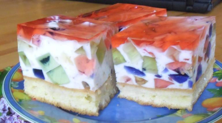 Pyszne ciasto z galaretkami bez pieczeniaPrzepis Koła Gospodyń z BiałkiSkładnikigalaretki w kolorze czerwonym, zielonym, żółtym i pomarańczowym kefir