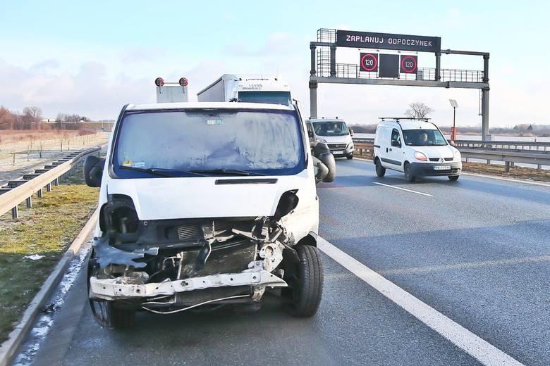 Wypadek na S8 pod Wrocławiem 29.01.2021