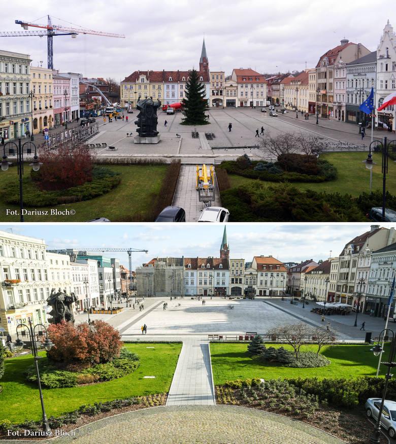 Spojrzenie na Stary Rynek - u góry kadr z roku 2013, na dolnym zdjęciu rok 2019 (po rewitalizacji)
