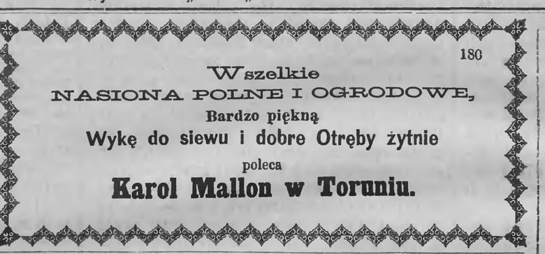 Reklama firmy Karola Mallona z 1873 roku.