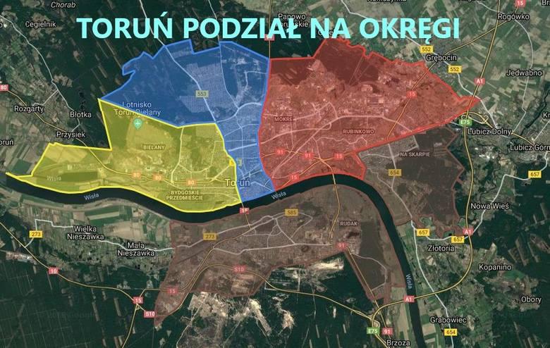 Podział na okręgi wyborcze w wyborach samorządowych 2018 w Toruniu może dziwić. Starówka głosuje wraz z Wrzosami, Mokre z Rubinkowem, Skarpa z Podgórzem,