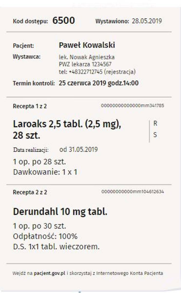 Tak wygląda papierowa informacja o recepcie. Na jej podstawie farmaceuta wyda nam leki.