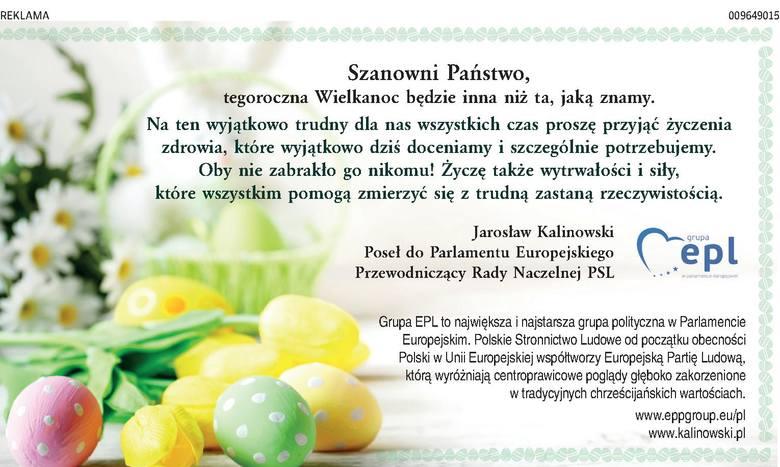 Wielkanoc 2020. Życzenia wielkanocne od Posła do Parlamentu Europejskiego Jarosława Kalinowskiego