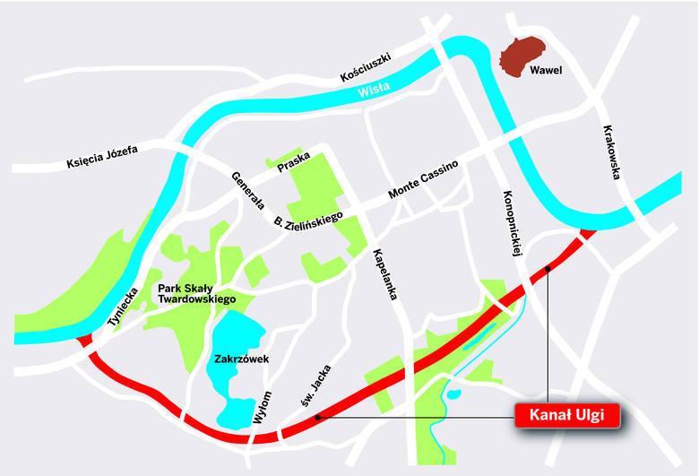 Plan przebiegu kanału ulgi w Krakowie