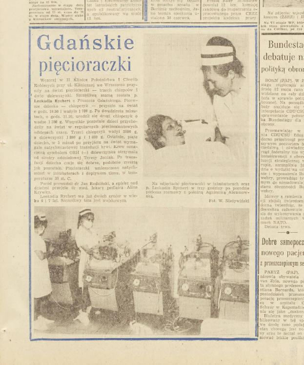 """Artykuł o pięcioraczkach z """"Dziennika Bałtyckiego"""" z 1971 roku"""