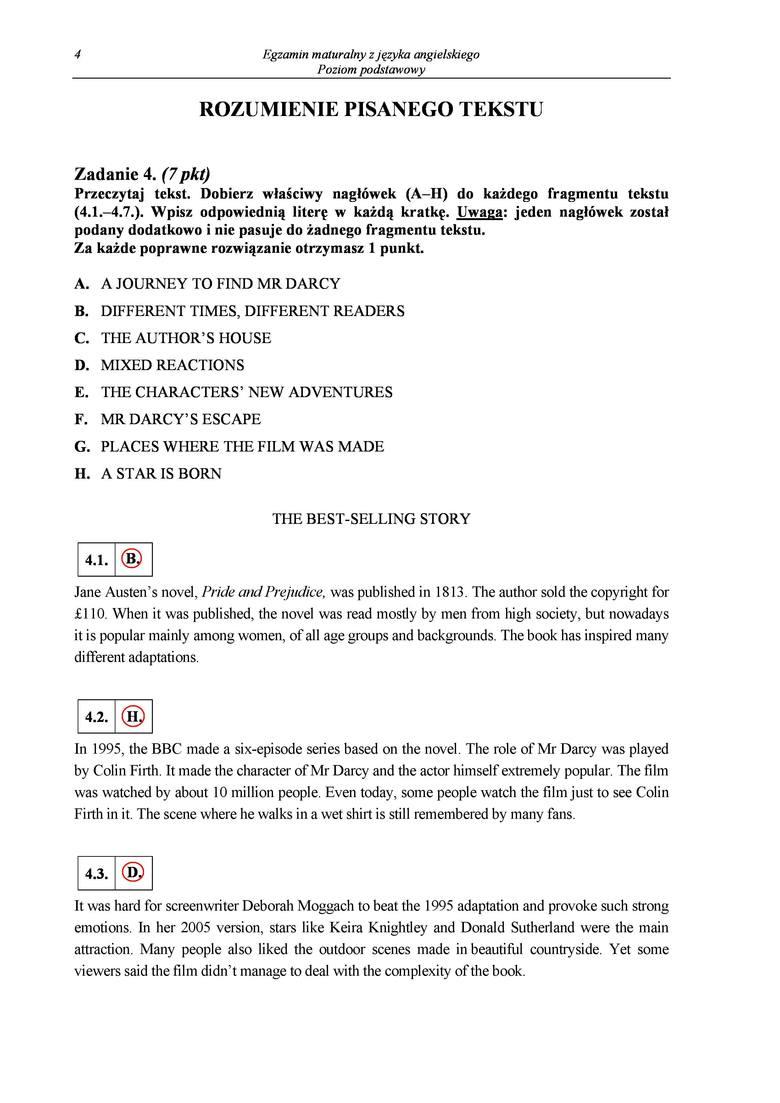 Matura 2014. Język angielski. Druga wersja arkusza. [ODPOWIEDZI]