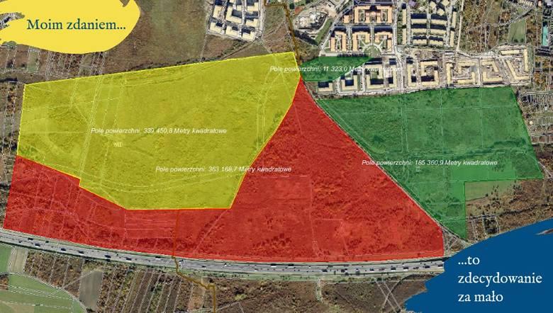 Na zielono proponowany I etap użytku. Na żółto tereny, nad którymi radni będą pracować. W większości należy do PFR. Na czerwono obszar do tej pory niebrany