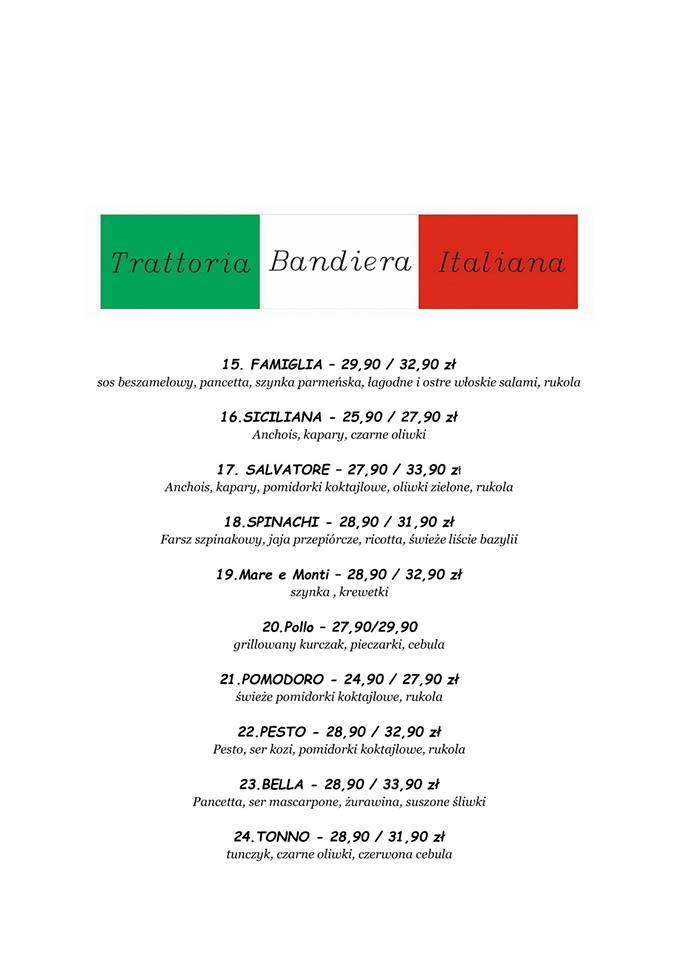 Menu restauracji Trattoria Bandiera Italiana po Kuchennych rewolucjach 2018.