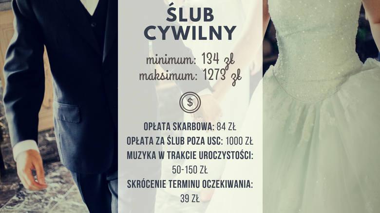 Za sam ślub cywilny zapłacimy przynajmniej 134 złote. Nie unikniemy opłaty skarbowej za wydanie aktu małżeństwa, a muzyka w trakcie uroczystości kosztuje